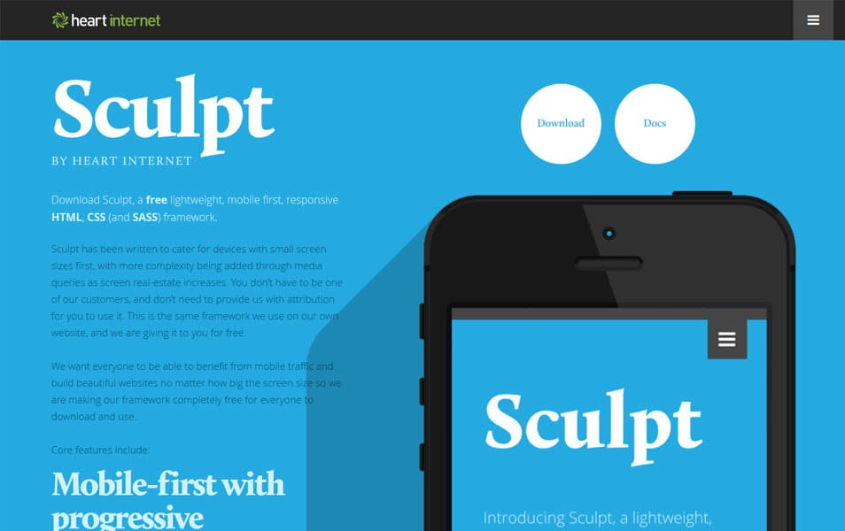 100 best css frameworks for responsive design sculpt is a free lightweight mobile first responsive html css and sass framework malvernweather Image collections