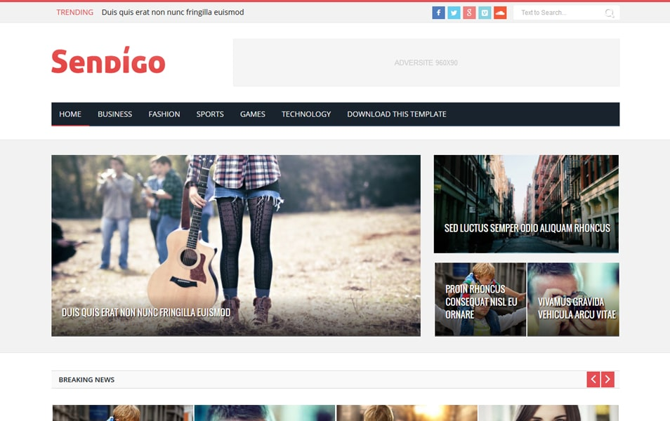 Sendigo Responsive Blogger Template