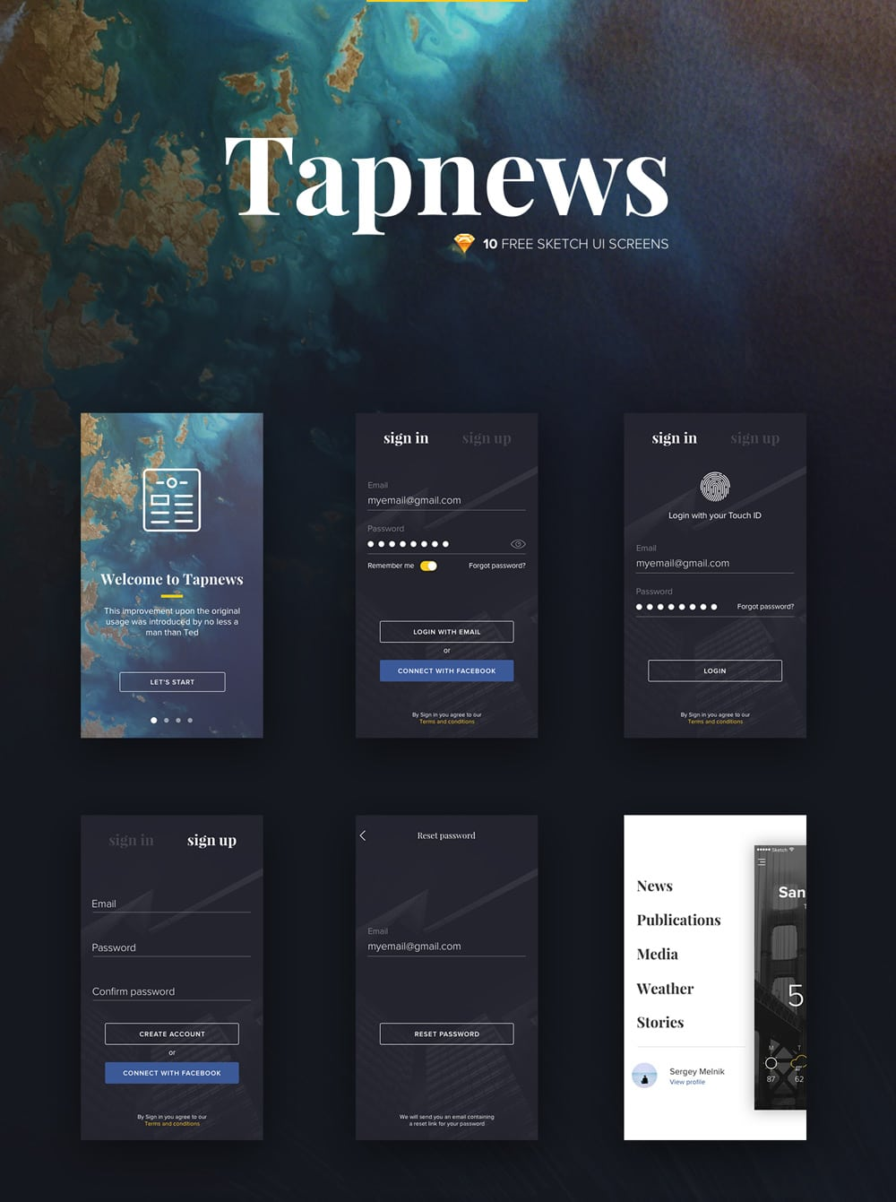 Tapnews - Free Mobile UI Kit