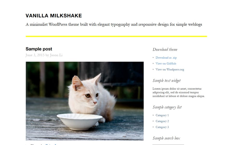 Vanilla Milkshake Responsive WordPress Theme