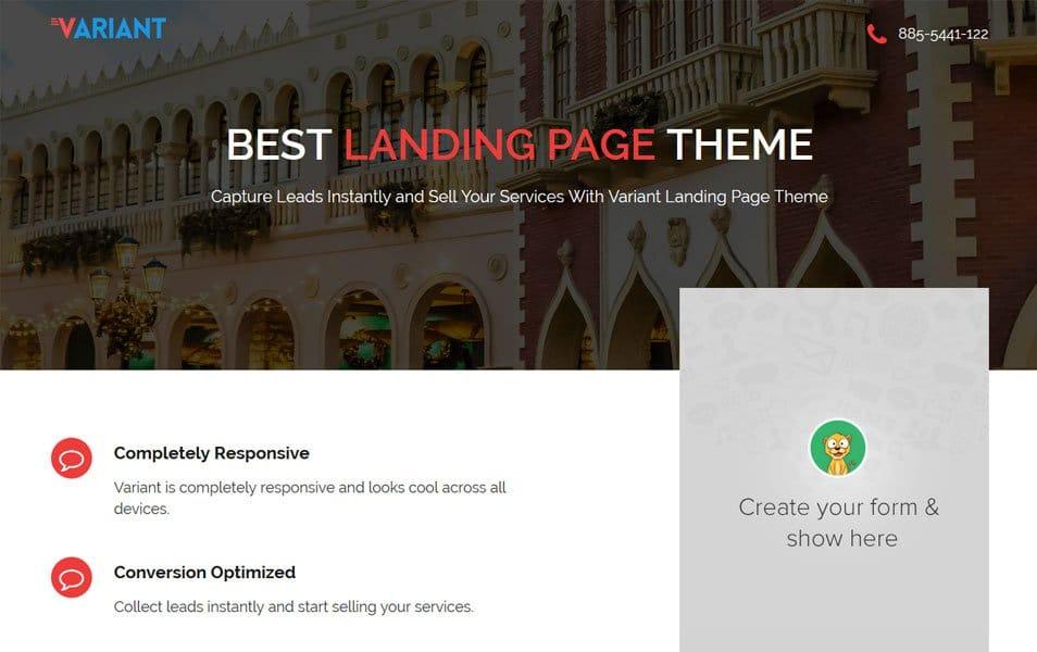 Variant Landing Page Responsive WordPress Theme