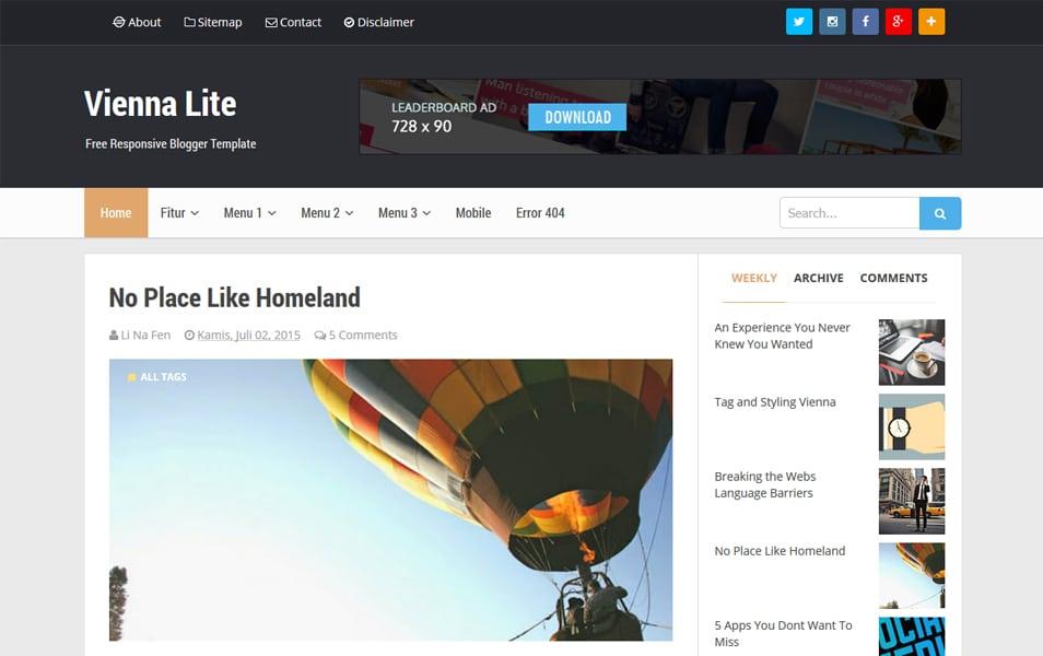 Vienna Lite Responsive Blogger Template