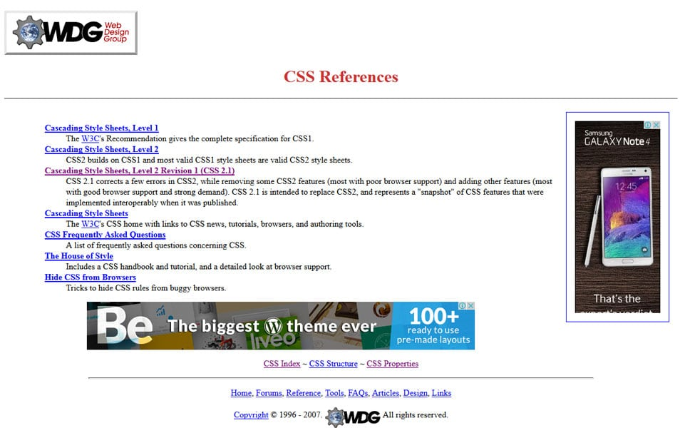 Web Design Group CSS References