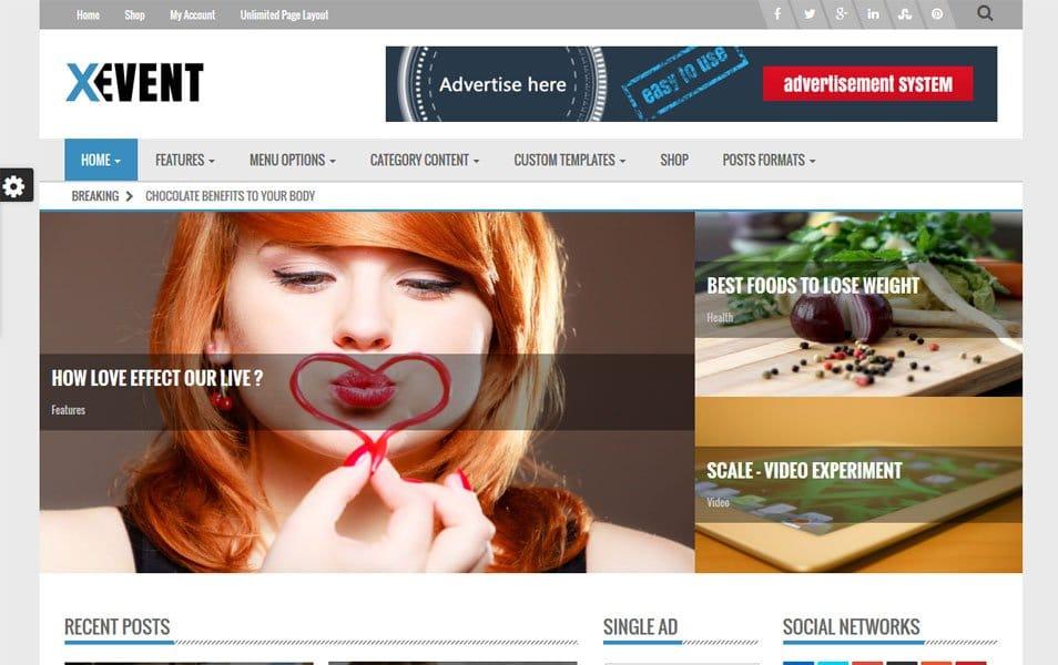 Xevent Magazine Responsive WordPress Theme