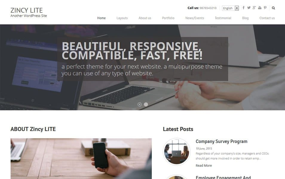 Zincy Lite Responsive WordPress Theme