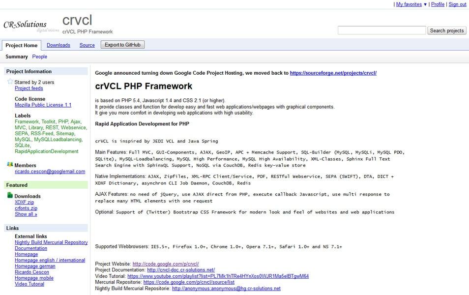 crVCL PHP Framework
