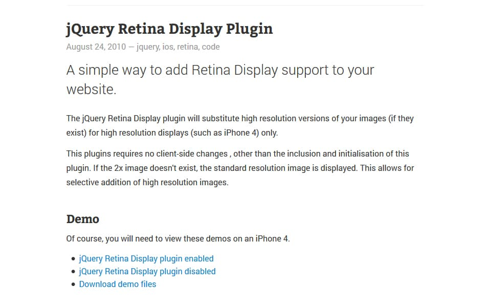 jQuery Retina Display Plugin