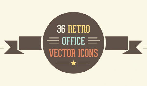 36 Retro Office Vector Icon Set