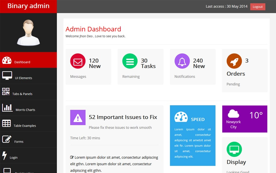 100 best free bootstrap admin templates css author for Html side menu bar template