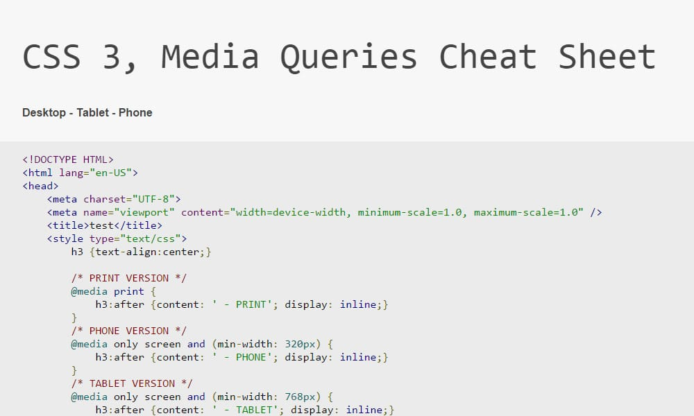 CSS 3, Media Queries Cheat Sheet
