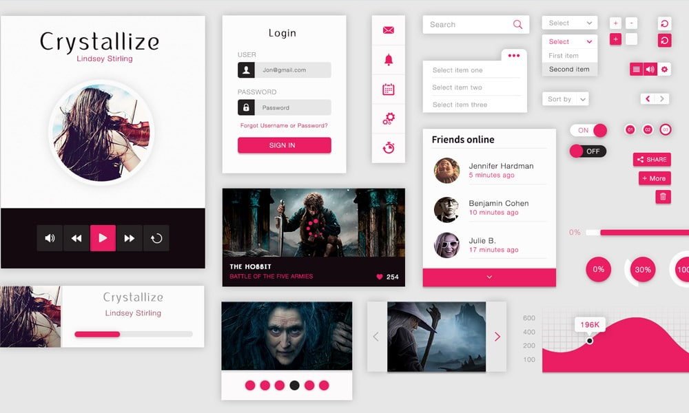 Crystallize Free Material UI Kit PSD