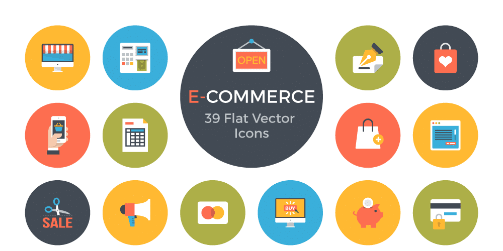 Free E Commerce Flat Vector Icons