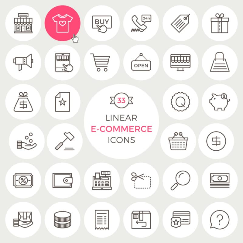 Free Linear E-Commerce Icons