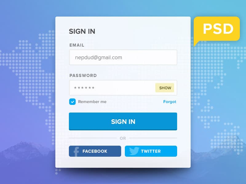 Free Login Form PSD