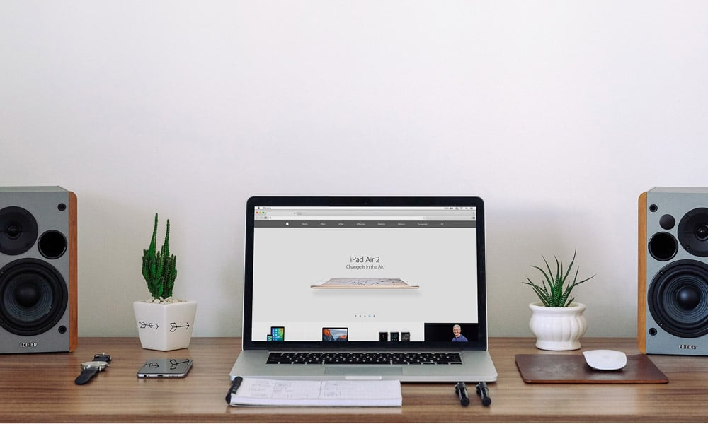 Free Macbook Workspace Mockup PSD