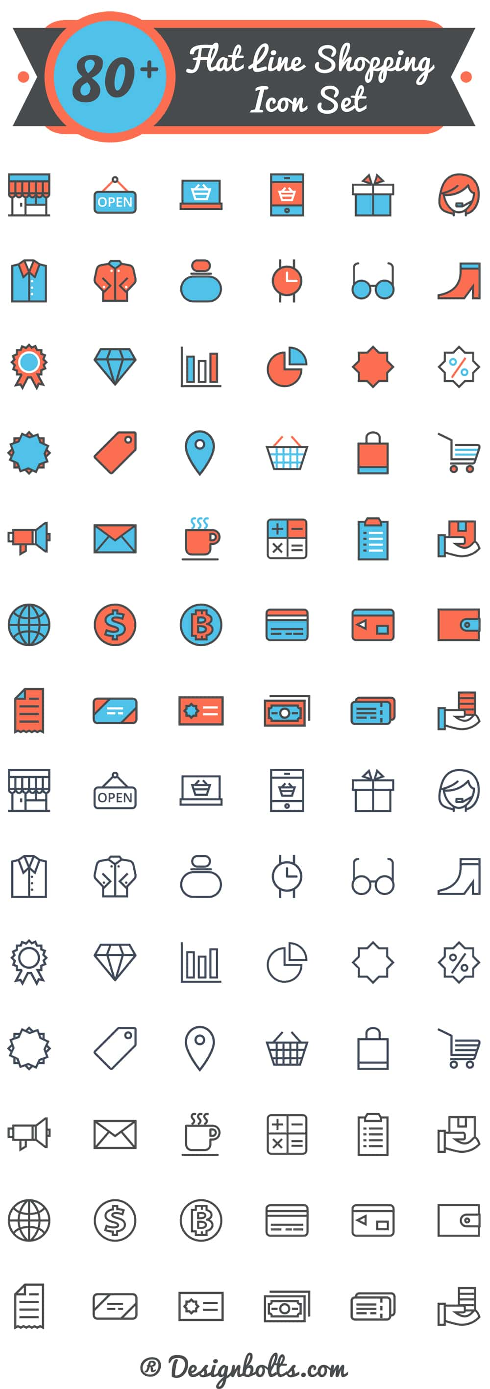 Free Vector Flat Shopping Icons