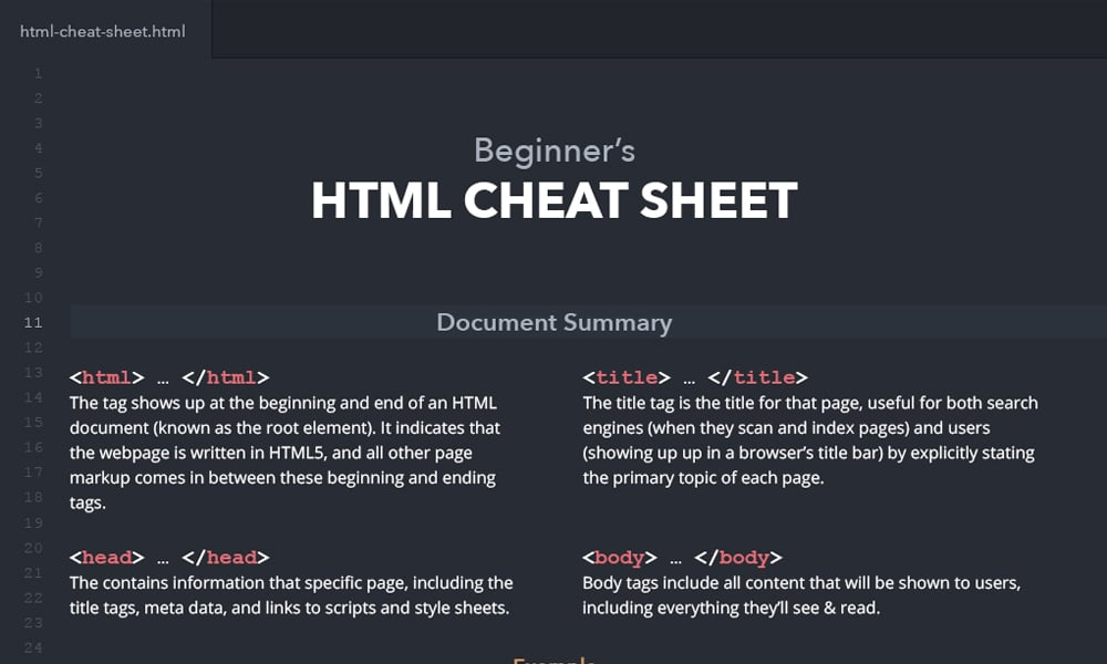HTML Cheat Sheet for Beginners
