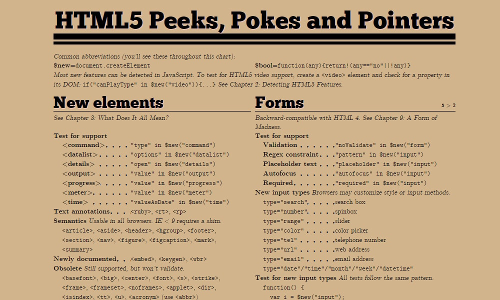 HTML5 Peeks, Pokes and Pointers