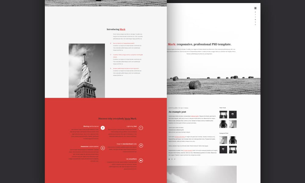 Mark Free Web Template PSD