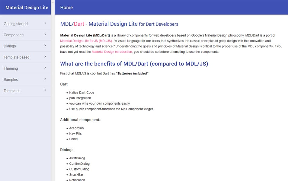 Material Design Lite for Dart Developers