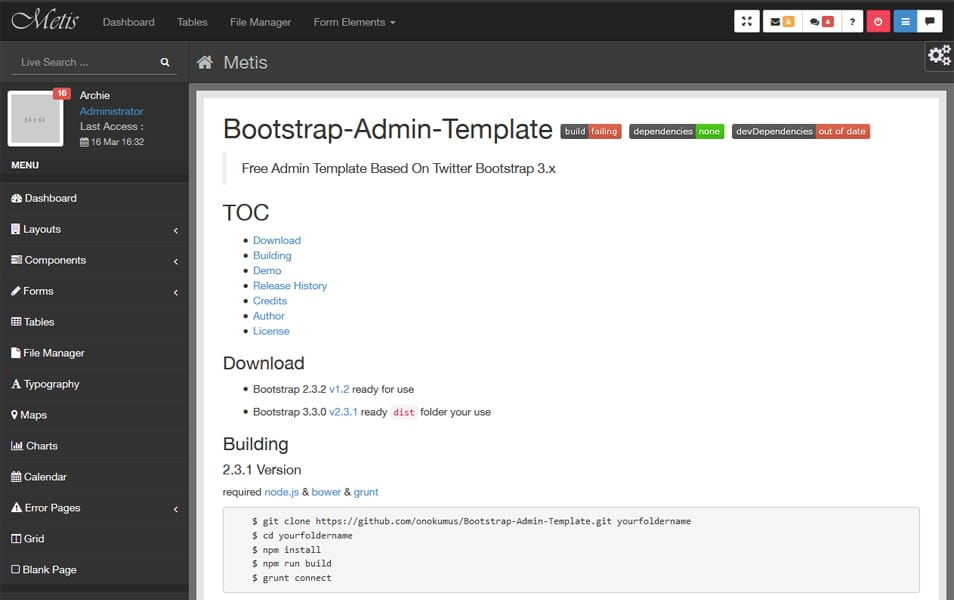 Metis - Twitter Bootstrap Admin Template