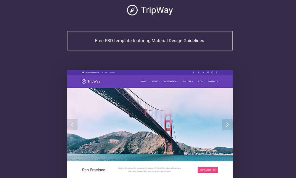 TripWay Free Travel Web Template PSD
