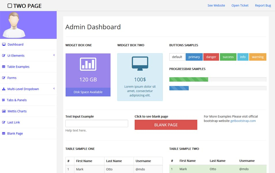 two page free bootstrap admin template - Page Free