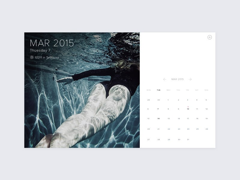 Calendar with Weather UI PSD