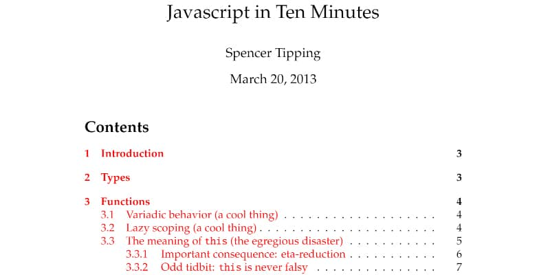 JavaScript In Ten Minutes