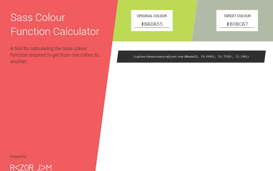 Sass Colour Function Calculator