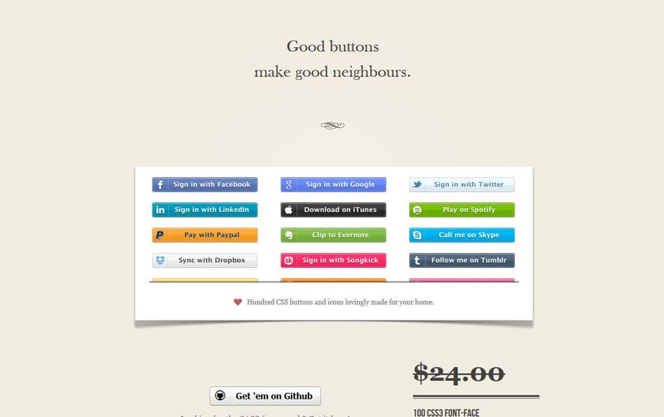 Zocial CSS social buttons