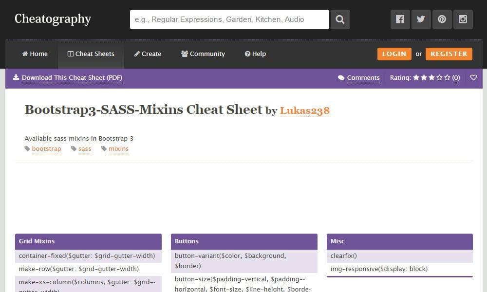 Bootstrap3 SASS Mixins Cheat Sheet
