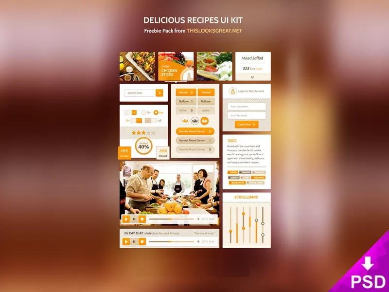 Delicious Recipes UI Kit PSD