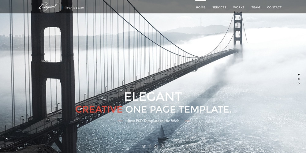 Free Elegant One Page Web Template PSD