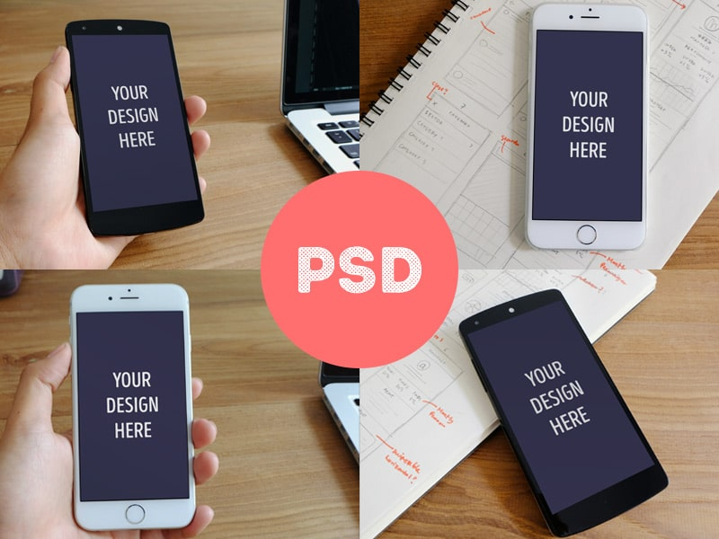 Free iPhone 6 & Nexus 5 Mockups PSD