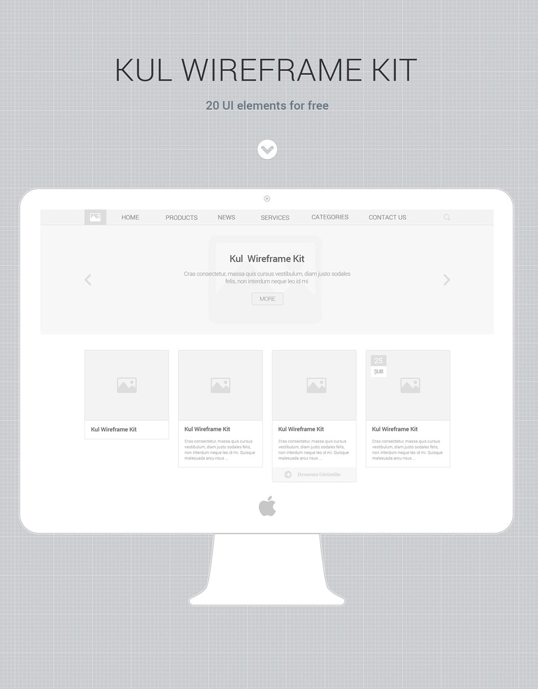 Kul Wireframe UI Kit PSD