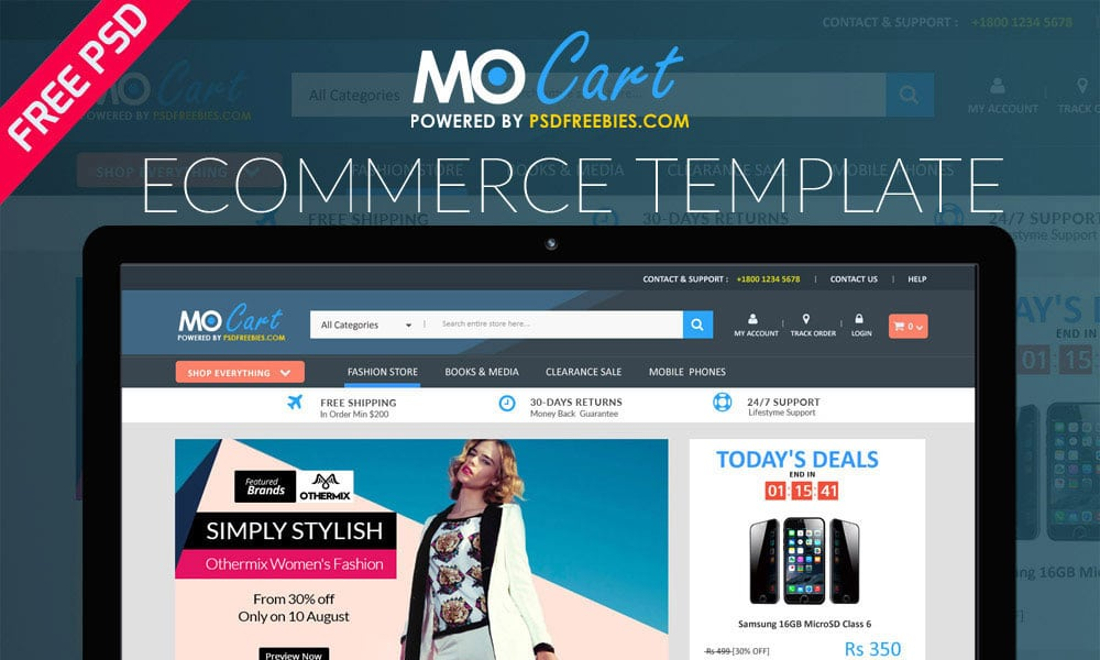 Mocart e-Commerce Web Template PSD