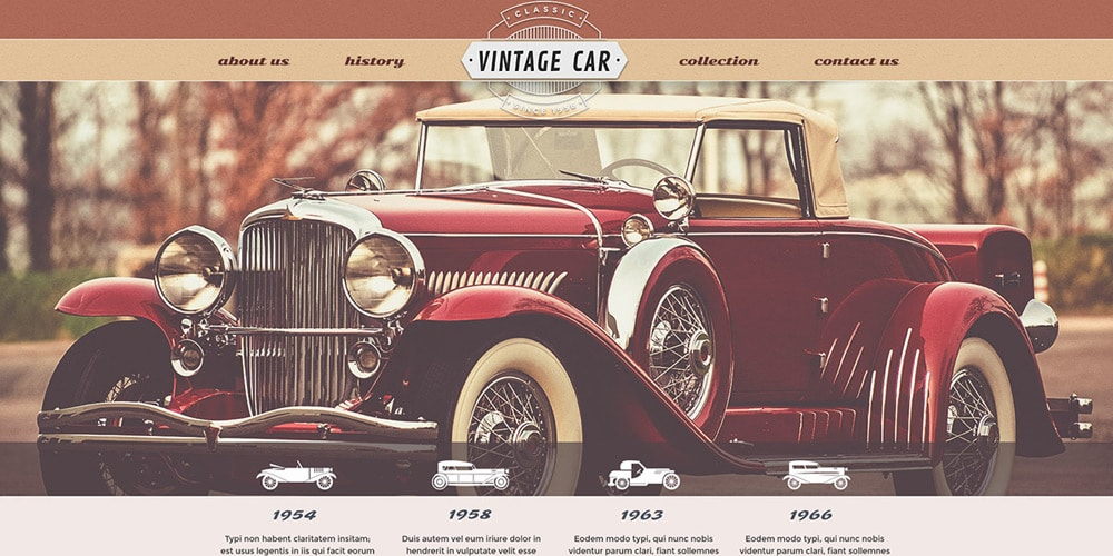 Vintage Car Free Web Template PSD