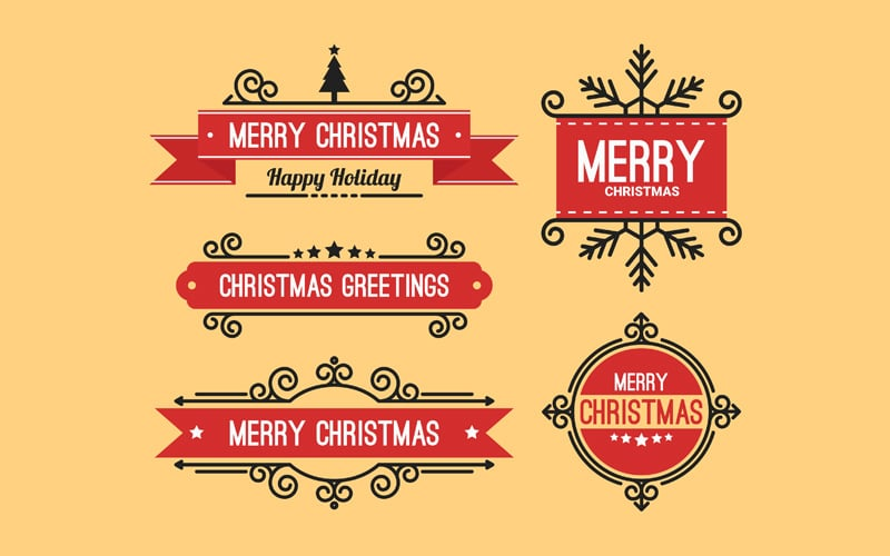 Christmas Greeting Red Labels Vector
