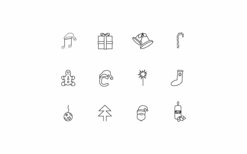 Free Christmas Line Icons Vector