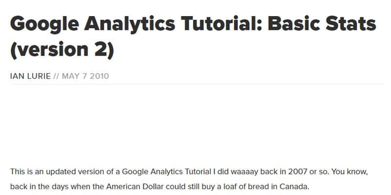 Google Analytics Tutorial - Basic Stats