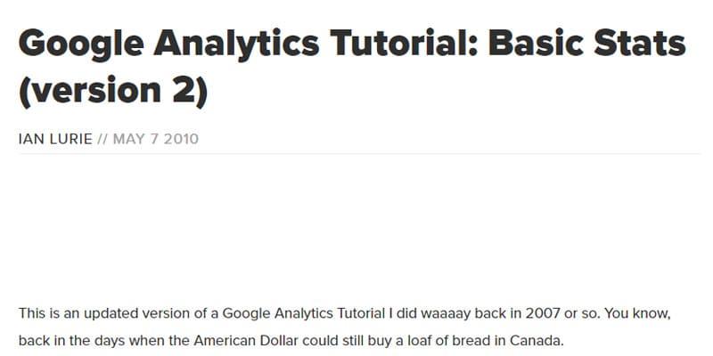 Google Analytics Tutorial - Basic Stats