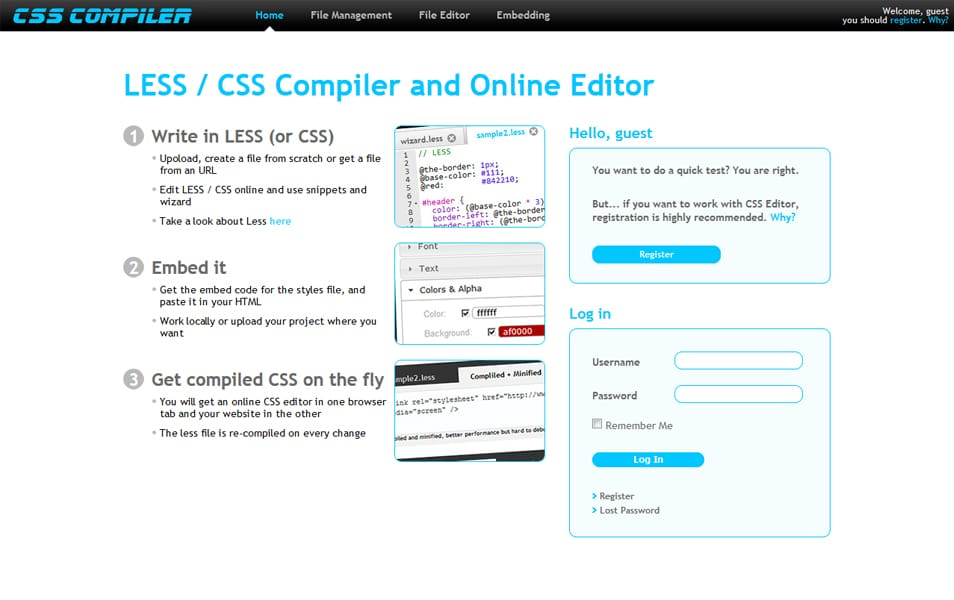 LESS / CSS Compiler and Online Editor