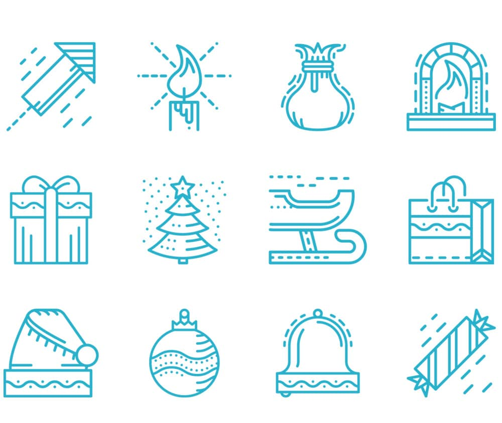 Merry Christmas and New Year Line Icons