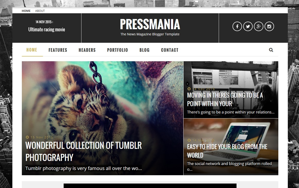 PressMania Responsive Blogger Template