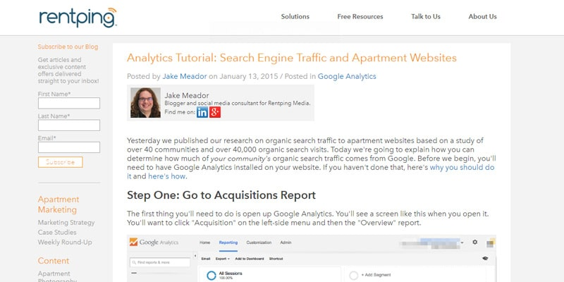 Search Engine Traffic and Apartment Websites
