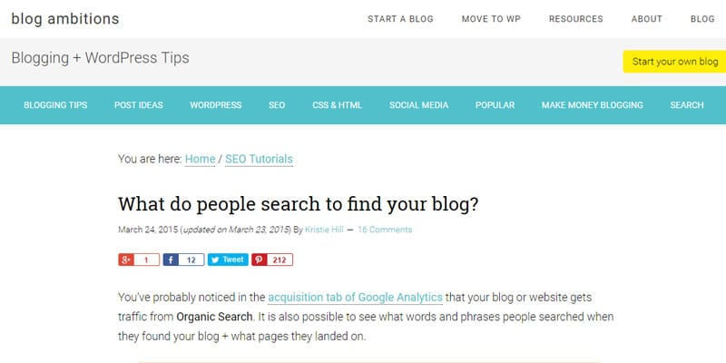 Search keywords in Google Analytics