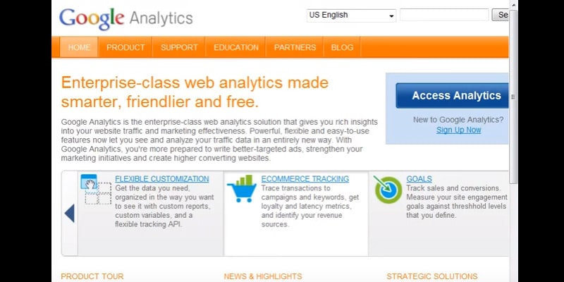 Signing into Google Analytics