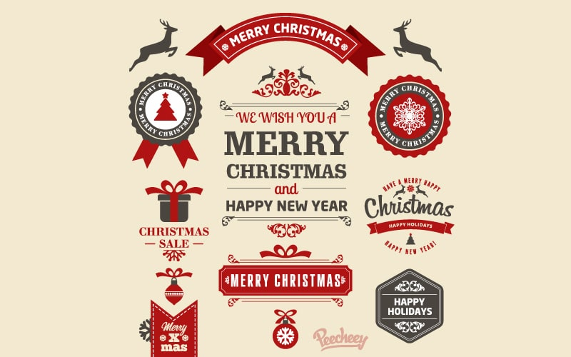 Vintage Christmas Sticker Vector