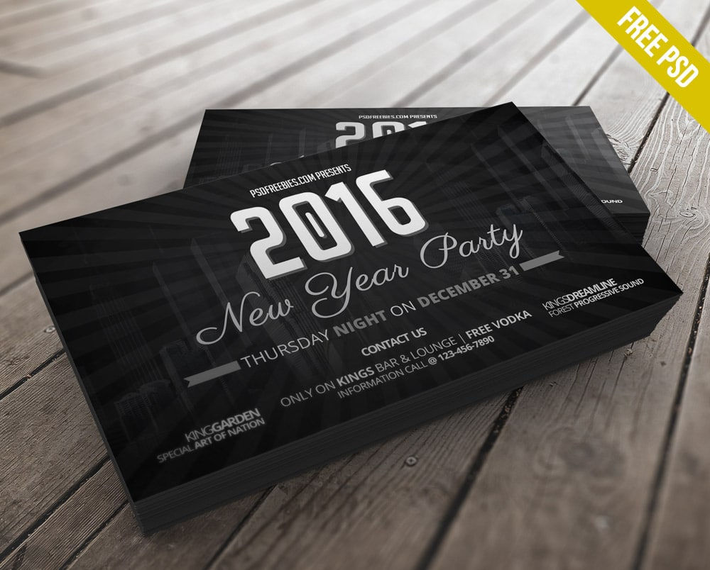2016 New Year Party Invitation Card PSD